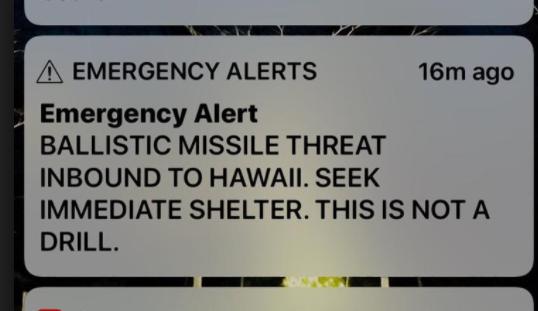 Human Error Sends State Of Hawaii In Panic