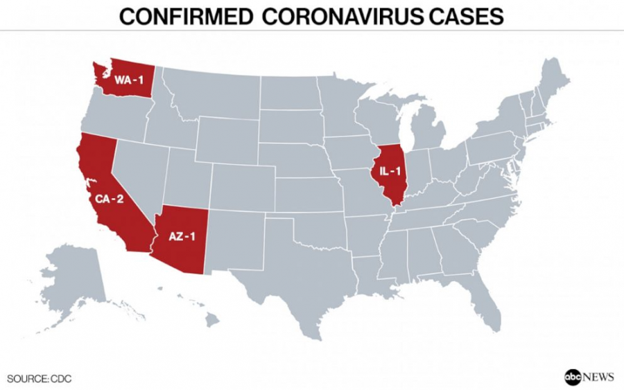 Map of the confirmed 5 cases throughout the US. By ABC News.